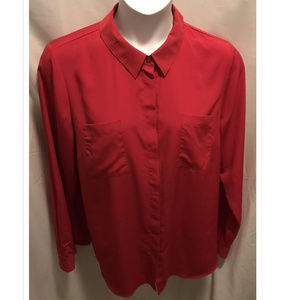 Size 14/16 Lane Bryant Top Silky Red